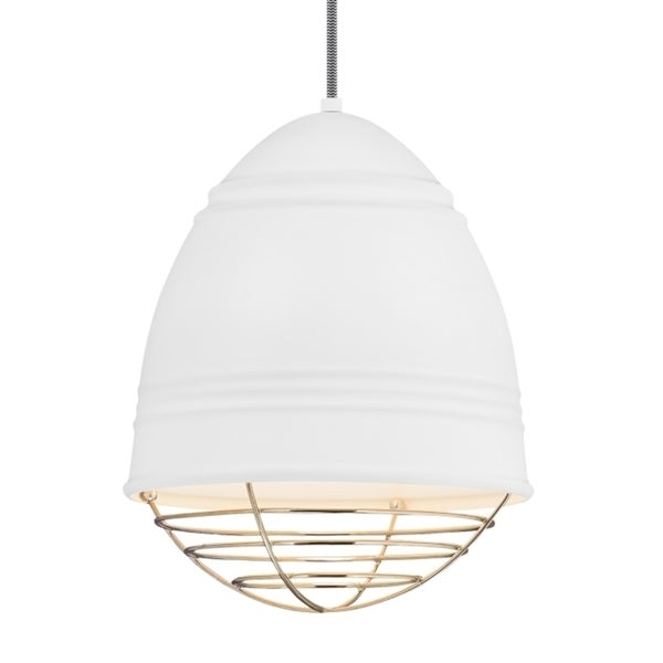 LBL Loft 1 Light Rubberized White Exterior and Interior with Polished Nickel Cage Incandescent Pendant