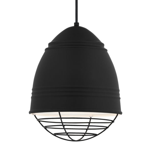 LBL Loft 1 light Rubberized Black Exterior with White Interior with Black Cage Incandescent Pendant