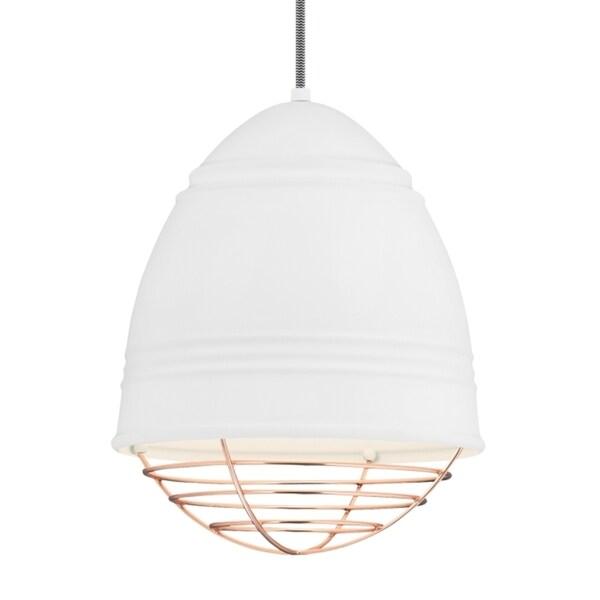 LBL Loft 1 light Rubberized White Exterior with White Interior with Copper Cage Incandescent Pendant