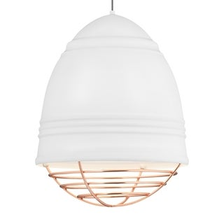 LBL Loft Grande 3 light Rubberized White Exterior with White Interior with Copper Cage LED Pendant