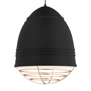LBL Loft Grande 3 Light Rubberized Black Exterior with White Interior with Copper Cage LED Pendant