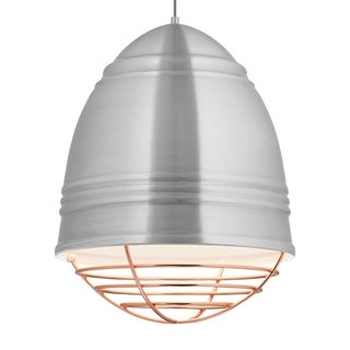 LBL Loft Grande 3 light Brushed Aluminum Exterior with White Interior with Copper Cage LED Pendant