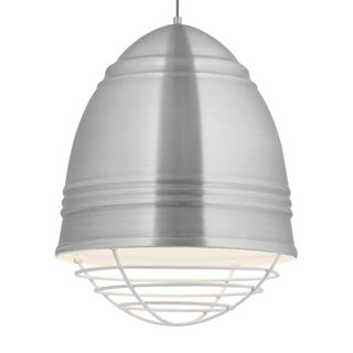 LBL Loft Grande 3 light Brushed Aluminum Exterior with White Interior with White Cage LED Pendant
