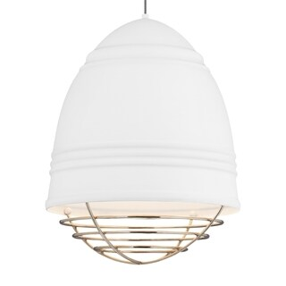 LBL Loft Grande 3 light Rubberized Aluminum Exterior with White Interior with Polished Nickel Cage LED Pendant