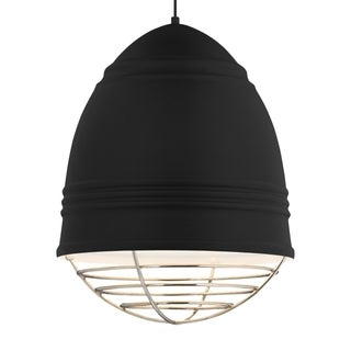 LBL Loft Grande 3 light Rubberized Black Exterior with White Interior with Polished Nickel Cage LED Pendant