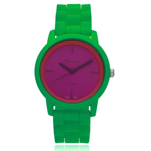 Geneva Platinum Modern Multi-color Strap Watch