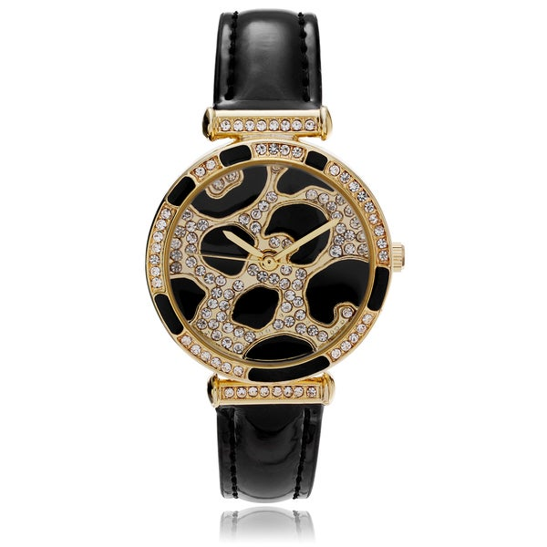 Geneva Platinum Women's Rhinestone Animal Print Strap Watch