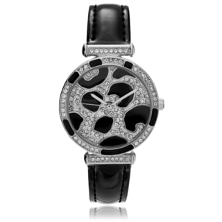 Geneva Platinum Women's Rhinestone Animal Print Strap Watch