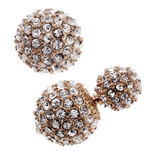 Journee Collection Metal Cubic Zirconia Peekaboo Ball Stud Earrings