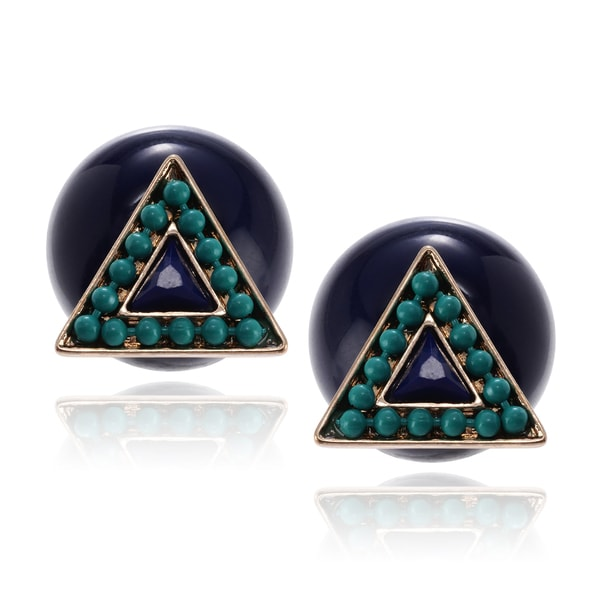 Journee Collection Gold-tone Acrylic Triangle Peekaboo Stud Earrings