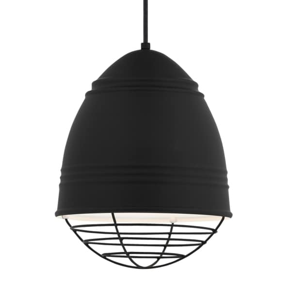 LBL Loft 1 light Rubberized Black Exterior with White Interior with Black Cage LED Pendant