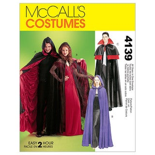 Misses'/Men's/Teen Boys' Lined & Unlined Cape Costumes-All Sizes in One Envelope