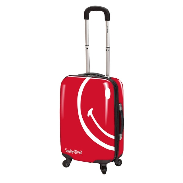 Smiley World Wink Red 30-inch Expandable Spinner Upright Suitcase