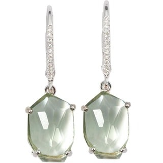 Kabella 14k White Gold Gemstone Window Slice Diamond Accent Leverback Earrings
