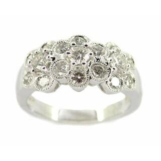 Kabella 18k White Gold 1 1/10ct TDW Diamond Flower Ring (G-H, SI2-SI3)