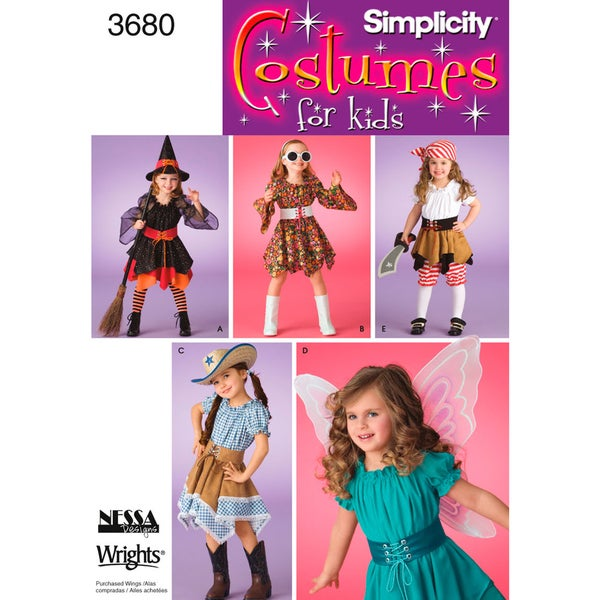 Simplicity Childs Costume-3,4,5,6,7,8
