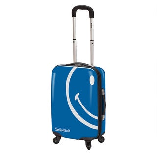 Smiley World Wink Blue 26-inch Expandable Hardside Spinner Upright Suitcase