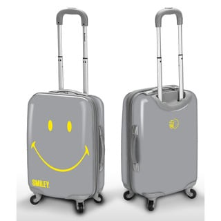 Smiley Classic Grey 22-inch Carry-on Hardside Spinner Upright Suitcase