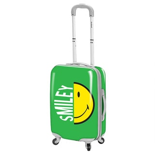 Smiley Classic Green 26-inch Expandable Spinner Upright Suitcase