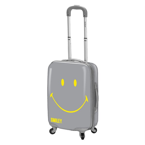 Smiley Classic Grey 30-inch Hardside Spinner Upright Suitcase