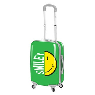 Smiley Classic Green 30-inch Expandable Hardside Spinner Upright Suitcase
