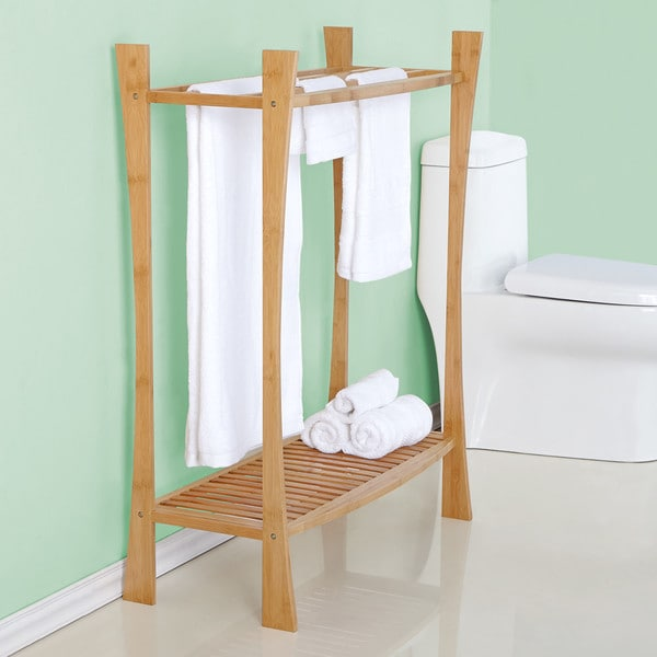 Best Living Bamboo Bath Towel Stand