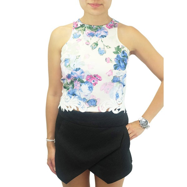 Women's Contemporary Lulumari Lace Hem Floral Crop Top