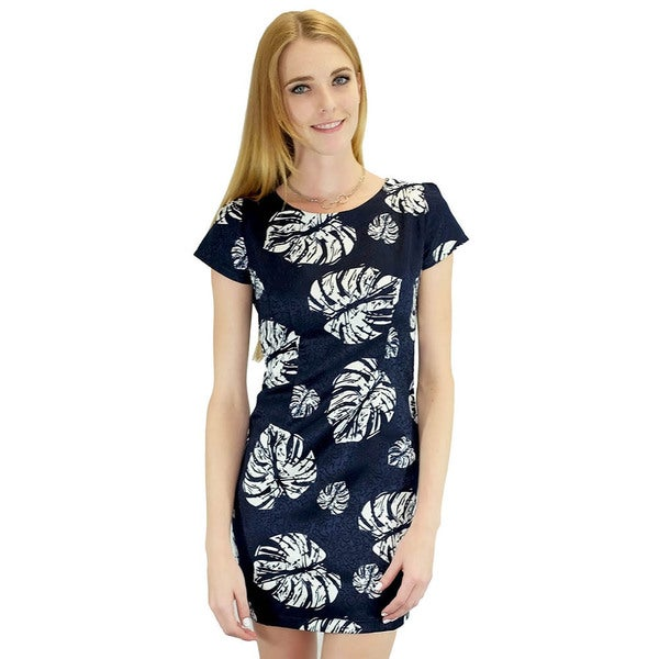 Relished Palm Funday Navy Dress