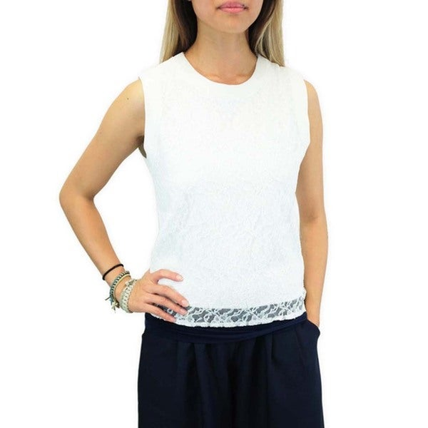 Women's Contemporary French Vanilla Lace Top