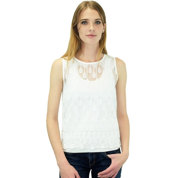Women's Contemporary JOA Ivory Water Droplets Embroidered Top