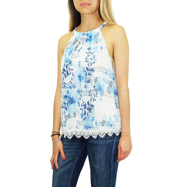 Women's Contemporary Blue Watercolor Floral Chiffon Top
