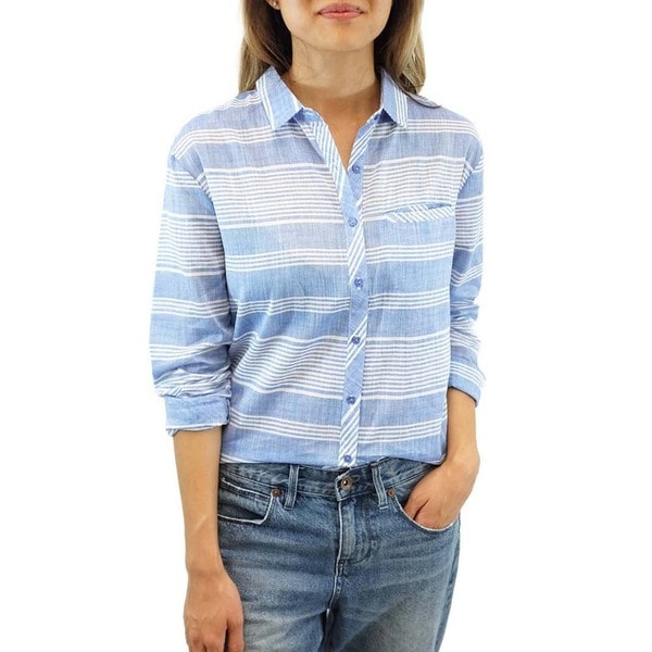 Women's Blue Linen Rails and Roads Top