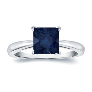 Auriya 14k Gold 2ct Princess Cut Blue Sapphire Solitaire Ring