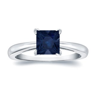 Auriya 14k Gold 1ct Princess Cut Blue Sapphire Solitaire Ring