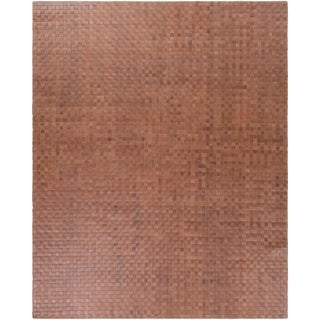 Papilio:Hand-Woven Burslem Crosshatched Leather Rug (8' x 10')