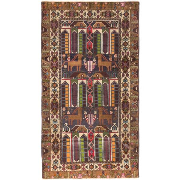 Ecarpetgallery Tora Bora Camel, Dark Navy Wool Picture Design Rectangular Rug (3'6 x 6'3)