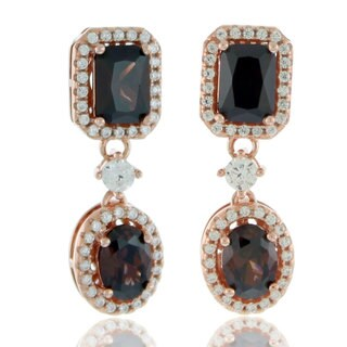 Suzy Levian Rose Sterling Silver Brown and White Cubic Zirconia Chocolate Earrings