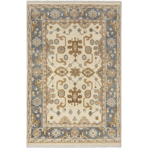 Royal Ushak Cream, Medium Weak Blue Wool Open Field Rectangular Rug (4'1 x 6'2)
