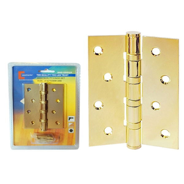 Brass Finish Staggered Hole Ball Bearing Door Hinge