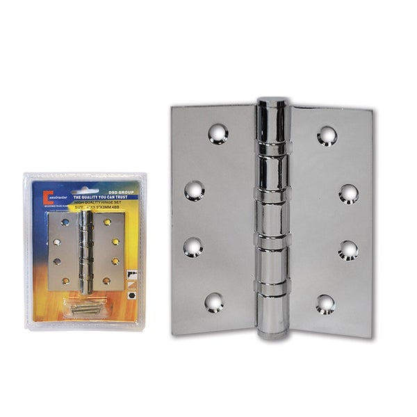 Silver Finish Curved Hole Ball Bearing Door Hinge