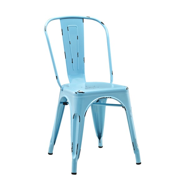 Metal Caf Chair - Azure Blue