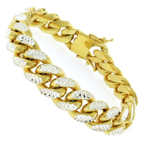 Goldplated Sterling Silver Men's 14.5mm Solid Diamond-cut Miami Cuban Bracelet