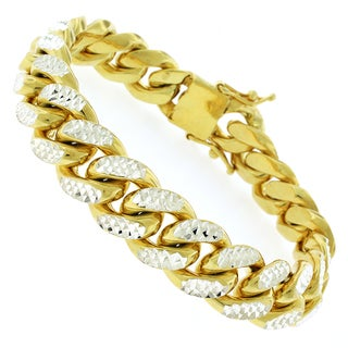 Goldplated Sterling Silver Men's 14.5mm Solid Diamond-cut Miami Cuban Bracelet