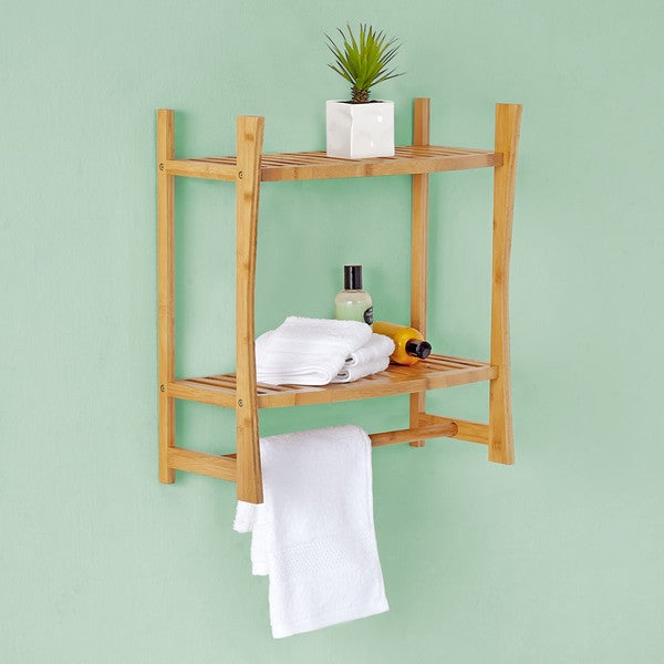 best living bamboo bath wall mount shelf with towel bar. Black Bedroom Furniture Sets. Home Design Ideas