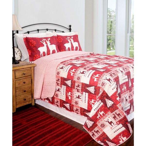 Slumber Shop Christmas Lodge Reversible 3-piece Quilt Set
