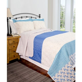 Slumber Shop Blue Stone 3-piece Reversible Quilt Set