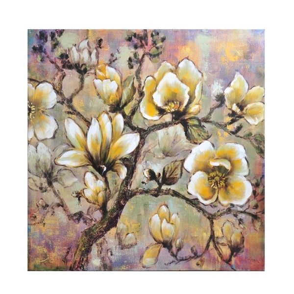 Bombay White Blossom Canvas