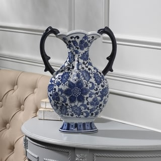 Bombay Blue And White Ceramic Vase With Handle