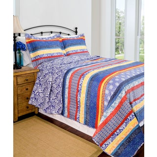 Slumber Shop Reversible Escapade Blue 3-piece Quilt Set