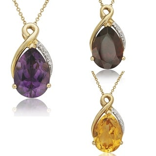 14k Yellow Gold Bold Pear-cut Gemstone and Diamond Accent Necklace